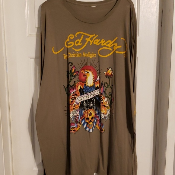 Ed Hardy Other - NWOT mens Long slave Ed Hardy T-shirt size 4X